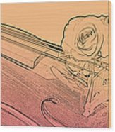 Red Rose Violin Viola Wood Print