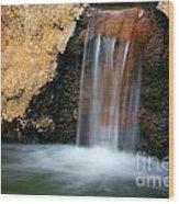 Red Waterfall Wood Print