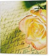 Red Yellow Rose Over A Hand Written Letter Wood Print