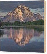 Reflections On Mount Moran Wood Print