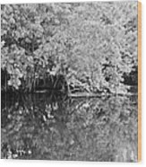Reflections On The North Fork River In Black And White Wood Print