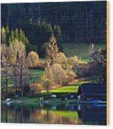 Reflex On Fushl Lake Salzburg Austria Wood Print by Arthit Somsakul