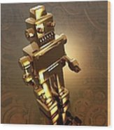 Retro Robot, Artwork Wood Print