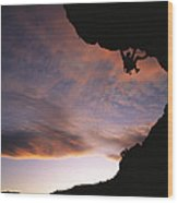 Rock Climbing Out A Steep Roof In Sinks Wood Print