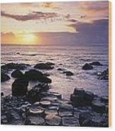 Rocks On The Beach, Giants Causeway Wood Print