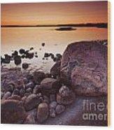 Rocky Shore At Twilight Wood Print
