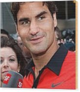 Roger Federer At A Public Appearance Wood Print