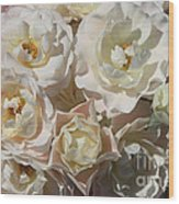 Romantic White Roses Wood Print