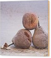 Rotten Pears And Apple. Wood Print