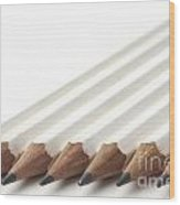 Row Of White Pencils Wood Print