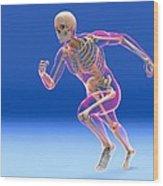 Running Skeleton In Body, Artwork Wood Print
