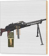 Russian Pkm General-purpose Machine Gun Wood Print by Andrew Chittock