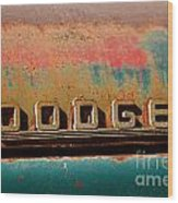 Rusted Antique Dodge Car Brand Ornament Wood Print