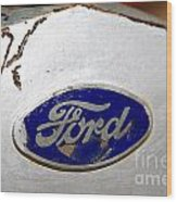 Rusted Antique Ford Car Brand Ornament Wood Print