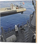 Sailors Lower A Rigid Hull Inflatable Wood Print