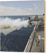 Sailors Observe A Mk-46 Recoverable Wood Print