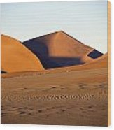Sand Dunes Against Clear Sky Wood Print by Axiom Photographic