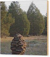 Sandstone Cairn Nature Art Sculpture Wood Print