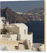 Santorini View Wood Print