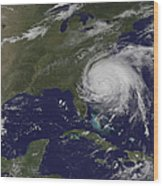 Satellite View Of Hurricane Irene Wood Print