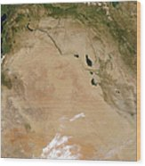 Satellite View Of The Middle East Wood Print