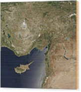 Satellite View Of Turkey And The Island Wood Print