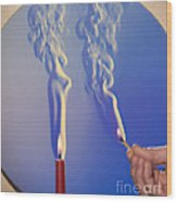Schlieren Image Of A Candle And Match Wood Print