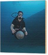 Scuba Diver Uses A Diver Propulsion Wood Print
