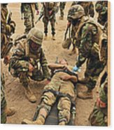 Seabees Conduct A Mass Casualty Drill Wood Print
