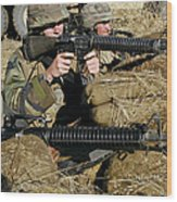 Seabees Defend Their Camp Wood Print