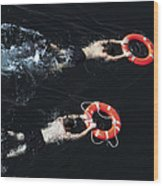 Search And Rescue Swimmers Wood Print