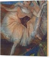 Seated Dancer Wood Print by Edgar Degas