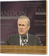 Secretary Of Defense Donald H. Rumsfeld Wood Print