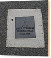 Shea Stadium Second Base Wood Print