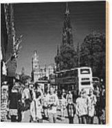 Shoppers And Tourists On Princes Street Edinburgh Scotland Uk United Kingdom Wood Print