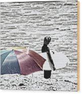 Surfer Umbrella Wood Print