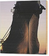 Silhouette Of The Battleship U.s.s Wood Print