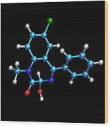 Sleeping Pill Molecule Wood Print by Dr Tim Evans