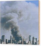 Smoke Billows Over Manhattan Wood Print