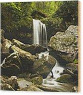 Smoky Mountain Waterfall Wood Print by Andrew Soundarajan