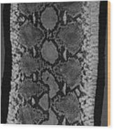 Snake Skin In Black And White Wood Print