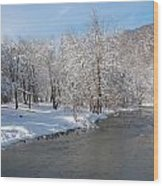 Snow At The Creek Wood Print