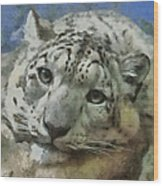 Snow Leopard Painterly Wood Print
