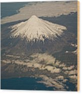 Snowcovered Volcano Andes Chile Wood Print