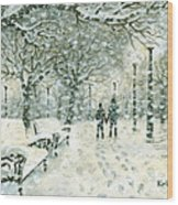 Snowing In The Park Wood Print