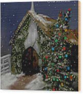 Snowy Christmas Eve Wood Print
