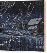 Snowy Winter Scene Of A Cabin In Distance  Wood Print by Sandra Cunningham