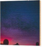 Solar Eclipse Over Mauna Kea Observatory Wood Print