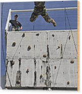 Soldier Rappels Off A Tower While Wood Print