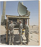 Soldiers Checking A Radar System Wood Print